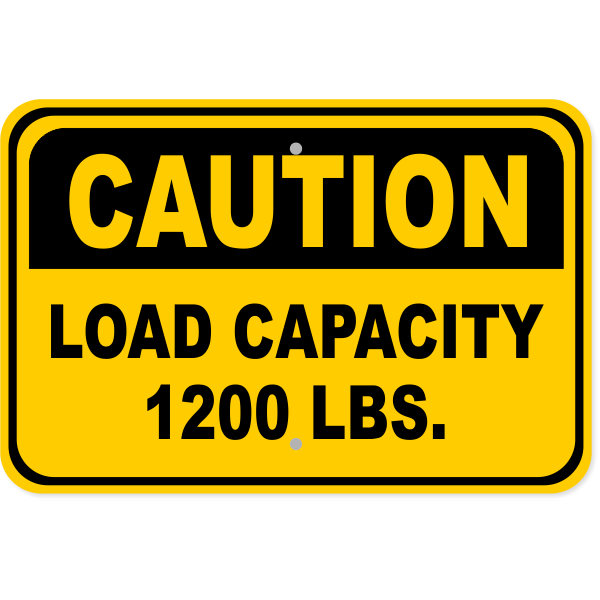 Caution Load Capacity Custom Pounds Aluminum Sign | 12
