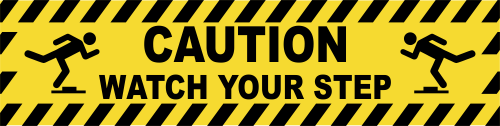 Caution Watch Your Step Icons Vinyl Sticker