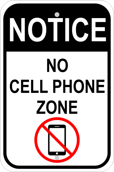 no cell phone zone sign custom signs. Black Bedroom Furniture Sets. Home Design Ideas