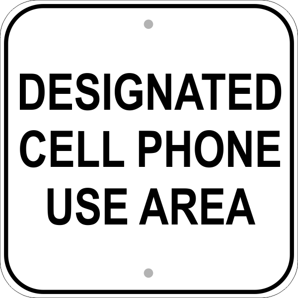 Cell Phone Area Sign