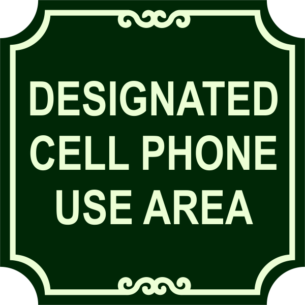 Ornate Cell Phone Area Sign