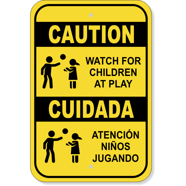 Caution Children At Play English Spanish Aluminum Sign