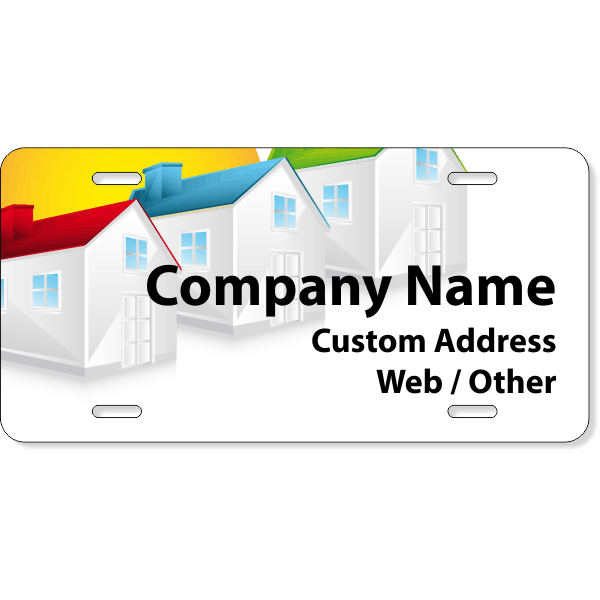 Colorful Housing Real Estate License Plate