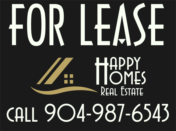 Real Estate For Lease Sign