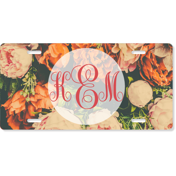 Vintage Floral License Plate with Monogram