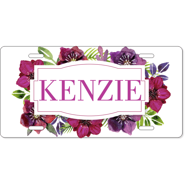 Custom Watercolor Dahlia License Plate