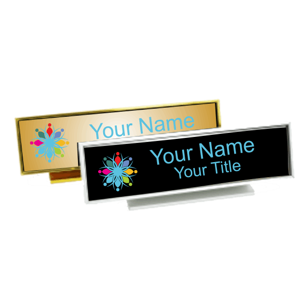 Executive Desk Name Plate Holder with Full color Insert (Square Corners) 2