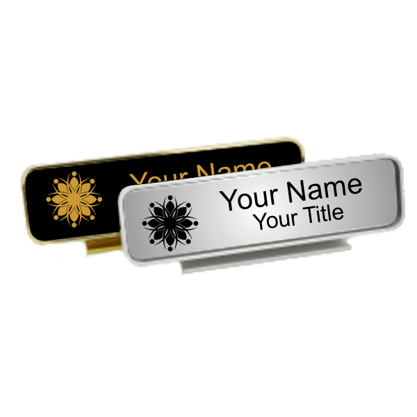 Executive Desk Nameplate Holder with Engraved Insert (Rounded Corners)  2