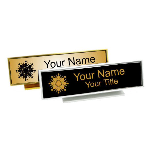 Executive Desk Nameplate Holder with Engraved Insert (Square Corners)  2