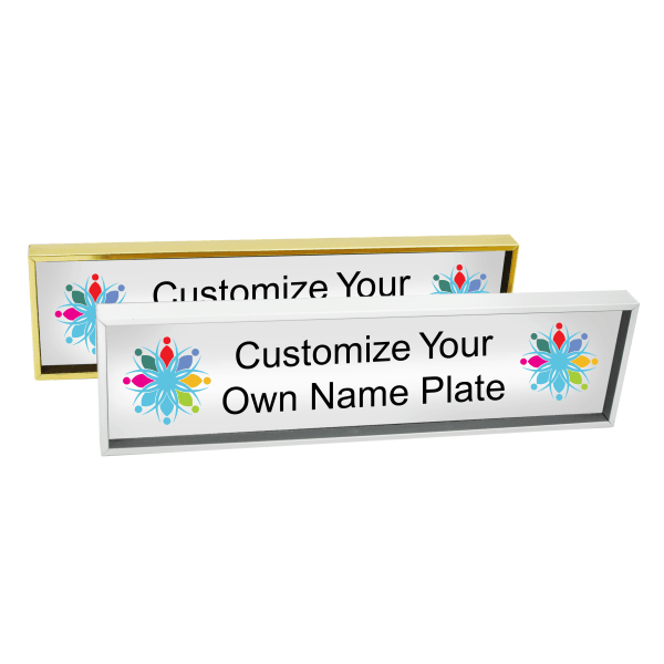Wall Name Plate Holder & Full Color Insert (Square Corners)
