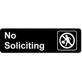 "Engraved No Soliciting Sales Icon Sign | 3"" x 10"""