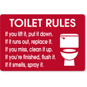 "Toilet Rules Engraved Plastic Sign | 8"" x 12"""