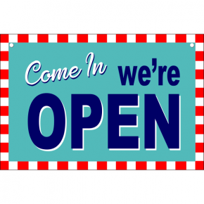 Open Closed Checker Border Vinyl Sign