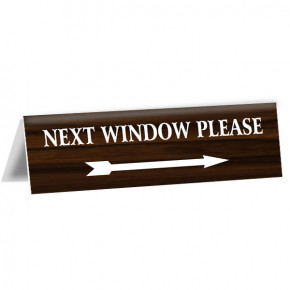 "Next Window Bank Teller Engraved Counter Bent Sign | 2"" x 8"""