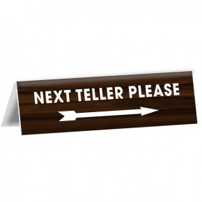 "Engraved Counter Bent Next Teller Bank Sign | 2"" x 8"""