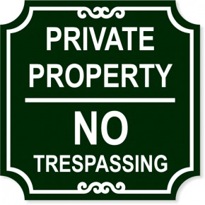 """Private Property No Trespassing Engraved Sign 