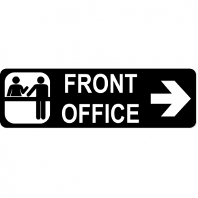 "Front Office Right Sign | 3"" x 10"""
