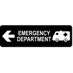 "Emergency Department Left Sign | 3"" x 10"""