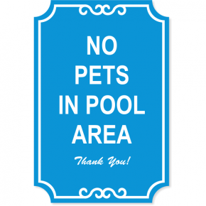 "Pets in Pool Engraved Plastic Sign | 18"" x 12"""
