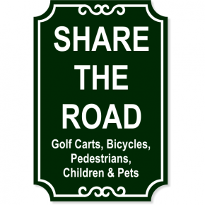 """Share the Road Engraved Plastic Sign 