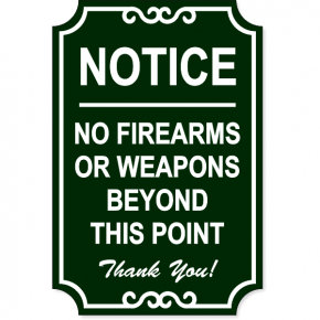 "No Firearms Ornate Sign | 18"" x 12"""