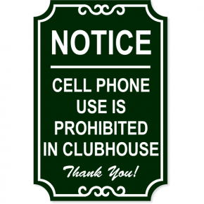 """Cell Phone Ornate Engraved Plastic Sign 