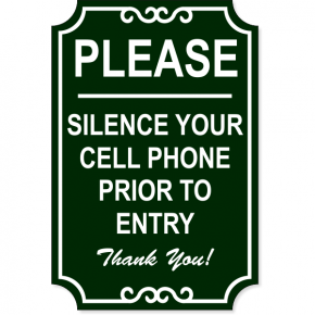 "Silence Cell Phone Ornate Engraved Plastic Sign | 18"" x 12"""