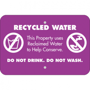 Horizontal Conserve with Recycled Water Warning Sign