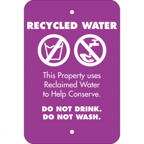 Vertical Conserve with Recycled Water Warning Sign