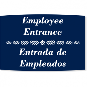 "Floral Engraved Plastic Bilingual Employee Entrance Sign | 6"" x 8"""