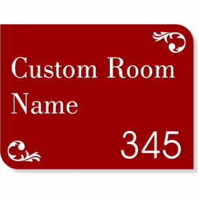 "Scroll Corner Room Name and Number Sign w/ Raised Letters - 6"" x 8"""