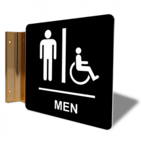 "Men's Handicap Restroom Corridor Sign | 6"" x 6"""