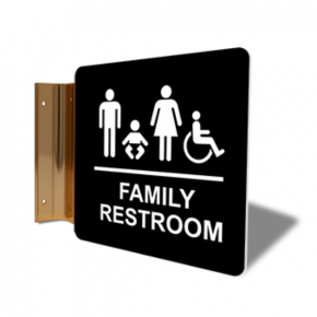 "Family Restroom Corridor Sign | 6"" x 6"""