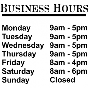 "Standard Business Hours Die Cut Door Decal | 12"" x 12"""