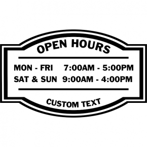 "Open Hours Die Cut Door Decal | 12"" x 20"""