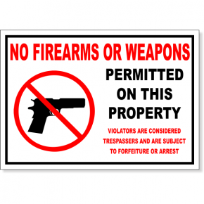 "No Firearms Permitted Decal | 7"" x 10"""