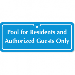 "Engraved Pool for Residents Sign | 4"" x 10"""