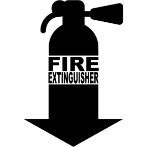 "Fire Extinguisher Down Arrow Cut Vinyl Decal | 7"" x 5"""