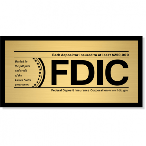 """FDIC Sign for Banks & Financial Institutions   4"""" x 8"""""""