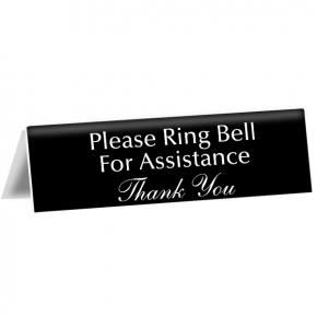 "Please Ring Bell For Assistance Tent Sign | 2"" x 8"""
