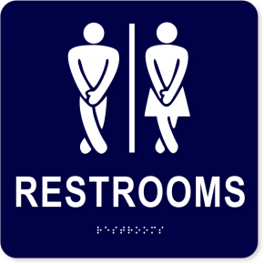 "Funny ADA Braille Men and Women Restroom Sign | 6"" x 6"""