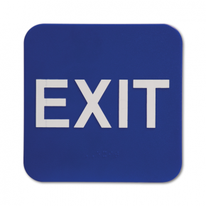 "Blue Exit ADA Braille Sign | 6"" x 6"""
