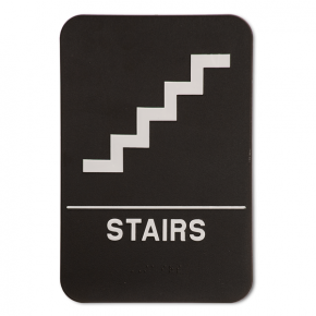 """Black Stairs ADA Braille Sign 