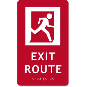 "ADA Exit Route Icon Sign | 10"" x 6"""