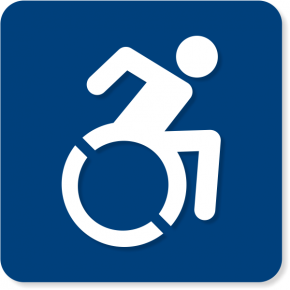 "Modified ISA Wheel Chair Sign w/ Raised Pictogram | 6"" x 6"""