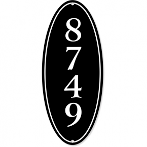 "Vertical Oval Border House Number Sign | 12"" x 5"""