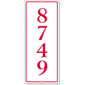 "Vertical Rectangle Border House Number Sign | 12"" x 5"""
