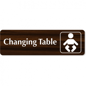 "Changing Table Baby Icon Engraved Plastic Sign | 3"" x 10"""