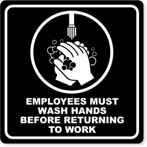 "Employees Must Wash Hands Engraved Plastic Sign | 8"" x 8"""