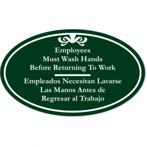 "Bilingual Oval Employees Must Wash Hands Engraved Plastic Sign | 6"" x 10"""